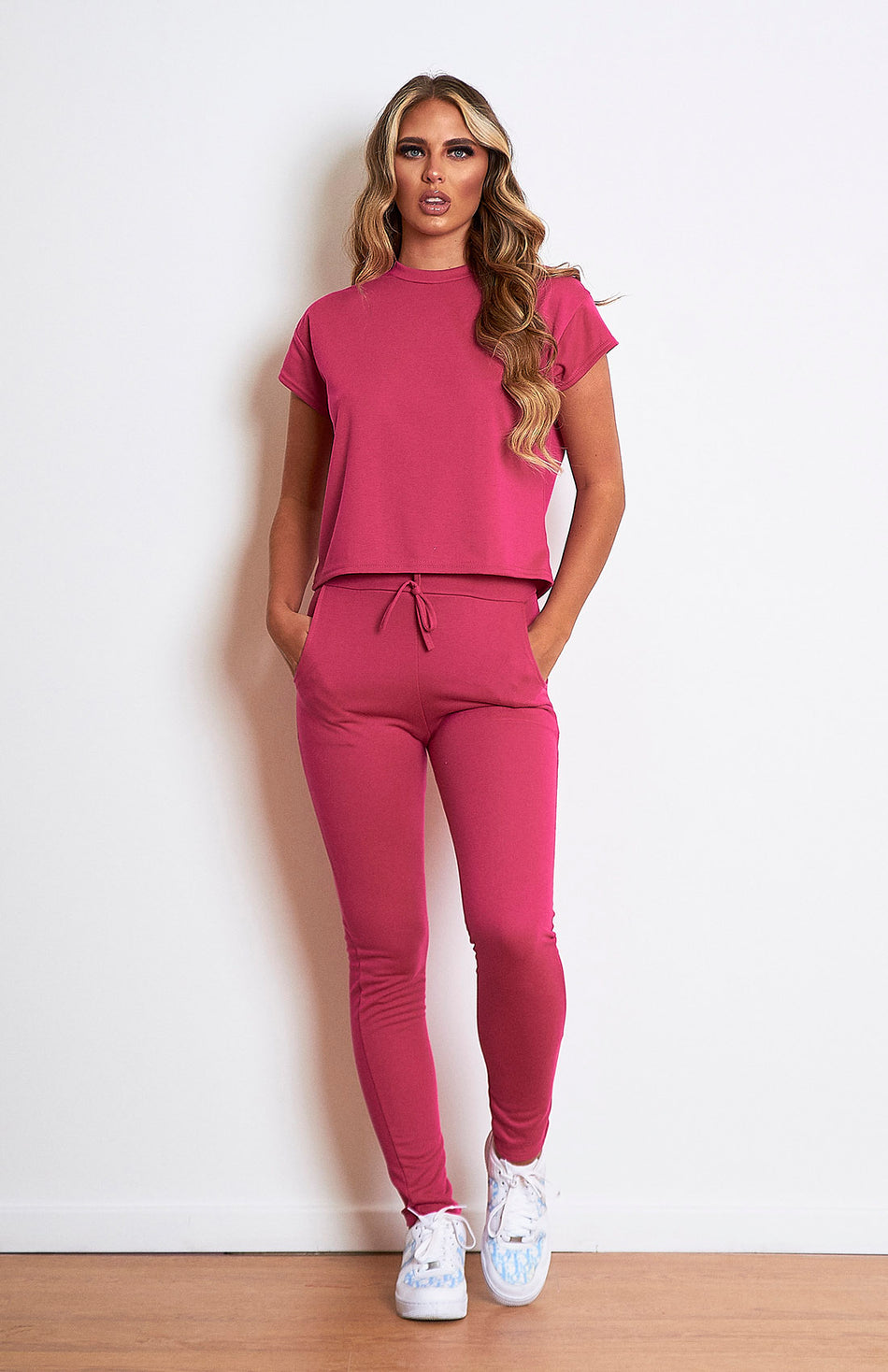 Hot Pink Short Sleeve Loungwear Set