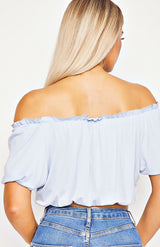 Powder Blue Bardot Frill Detail Crop Top