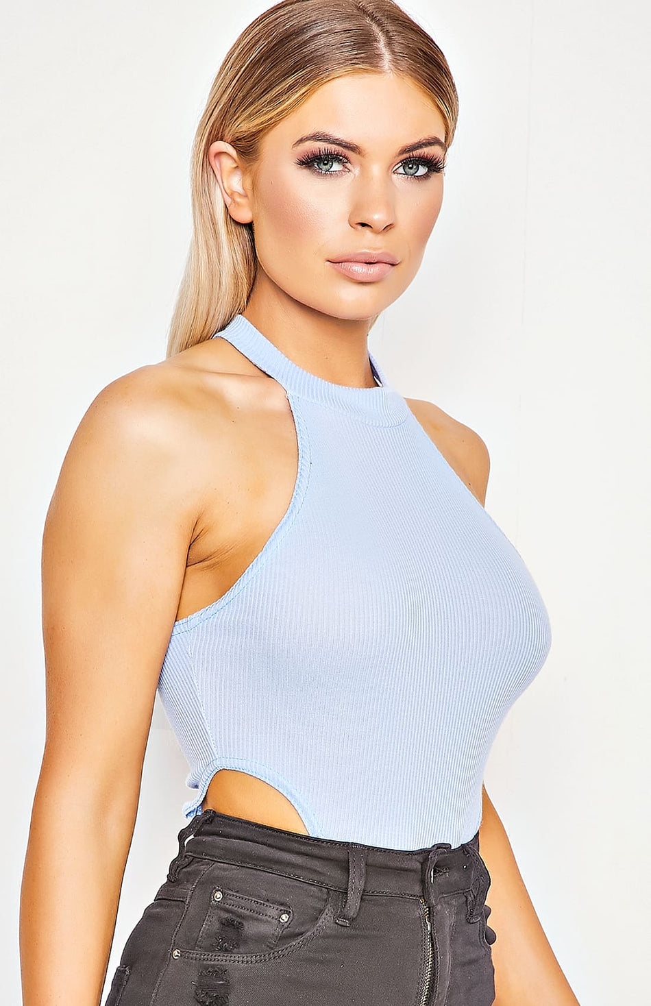 Powder Blue Rib Knit Body mit hohem Bein