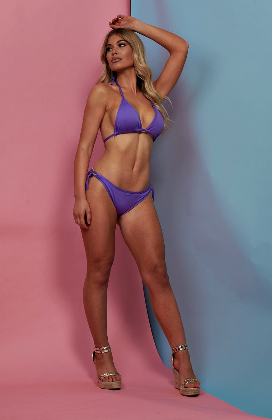 Purple Side Tie Bikini