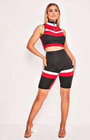 Red & Black Crop Top & Shorts Two Piece Set Playsuit