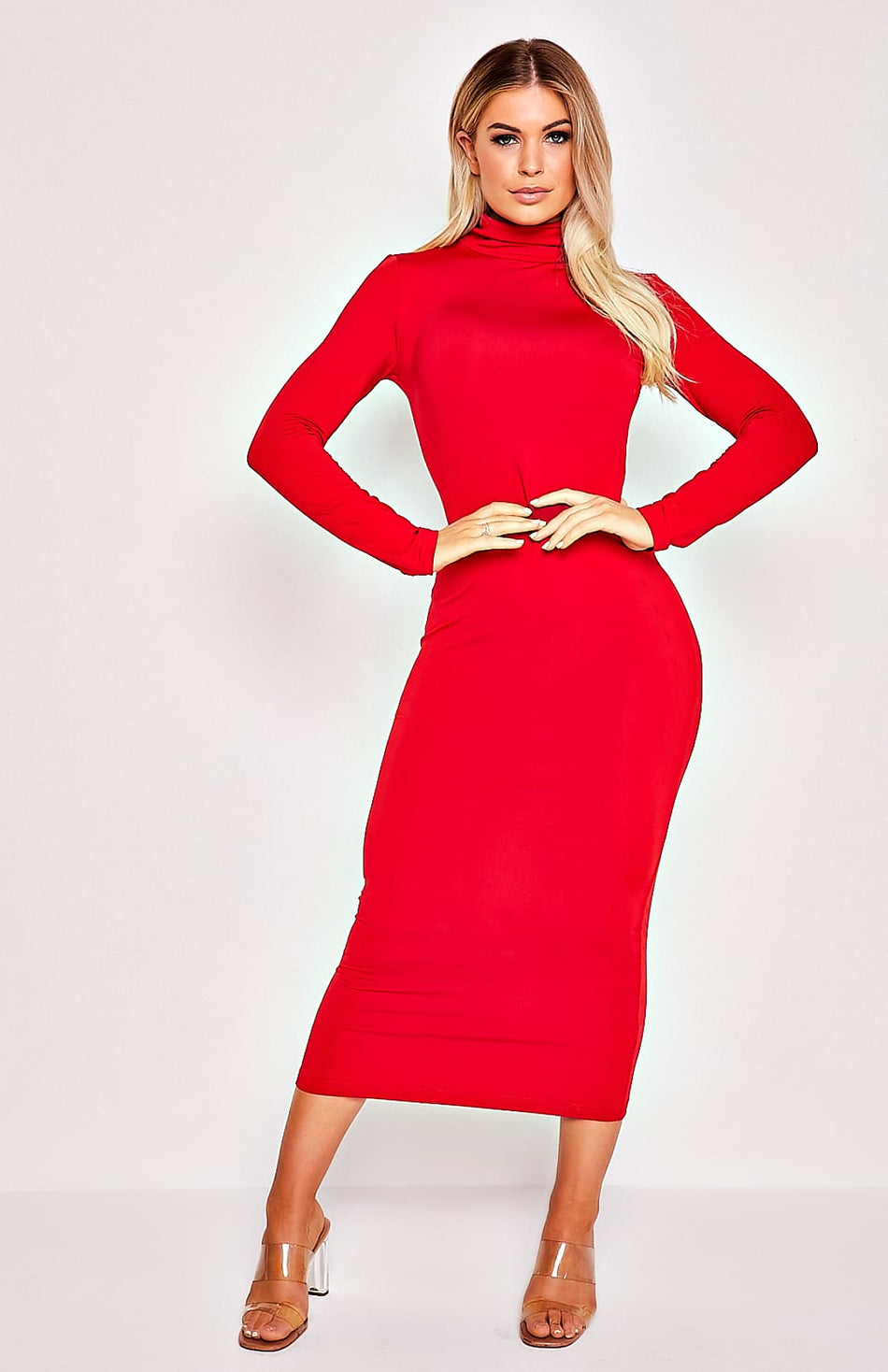 Red High Collar Langarm Stretch-Midikleid