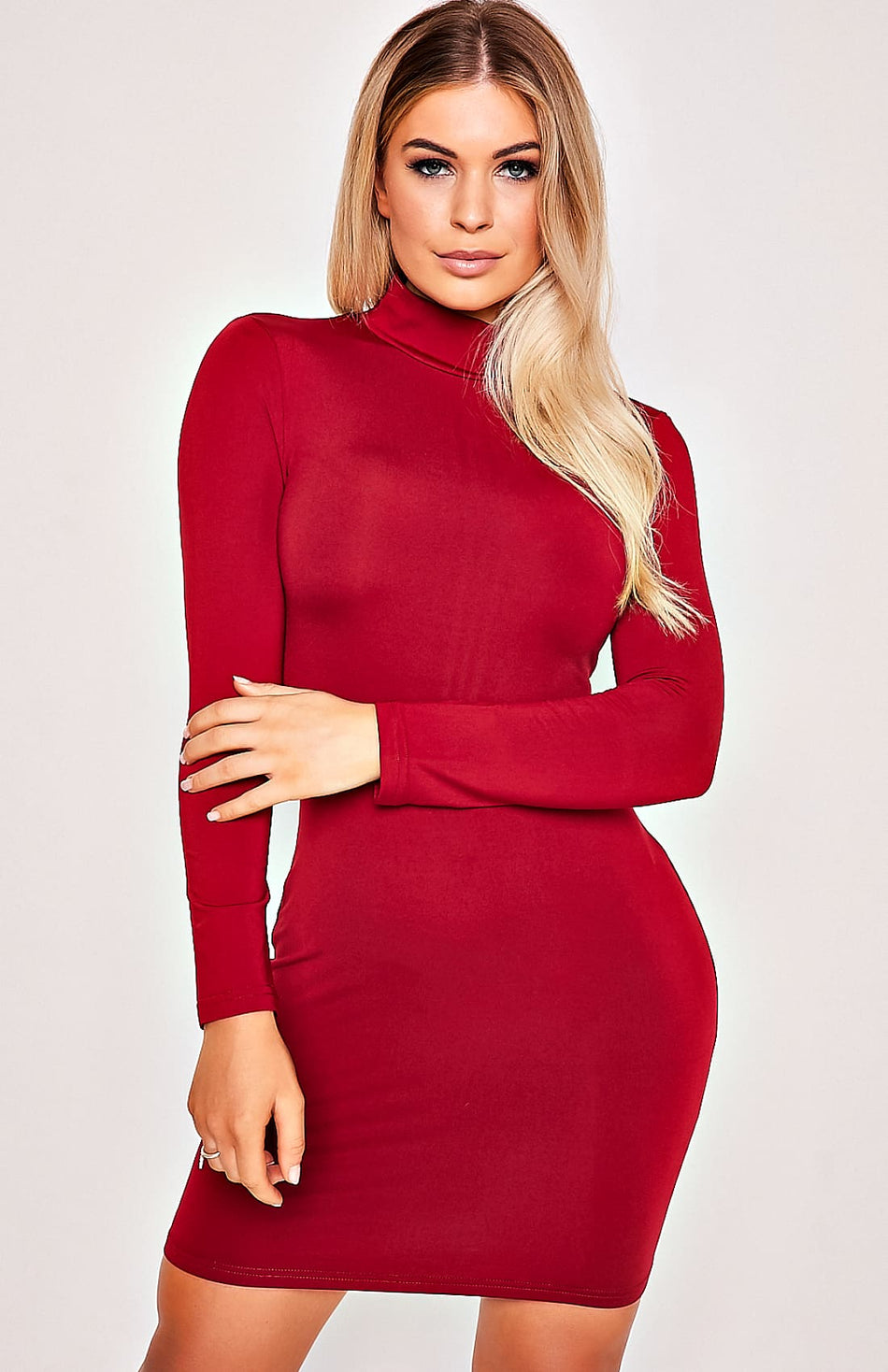Red High Neck Zip Back Langarm, figurbetontes Kleid