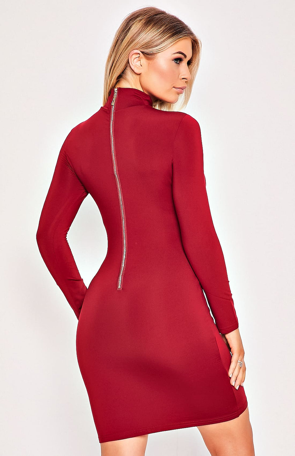 Red High Neck Zip Back Long Sleeve Bodycon Dress