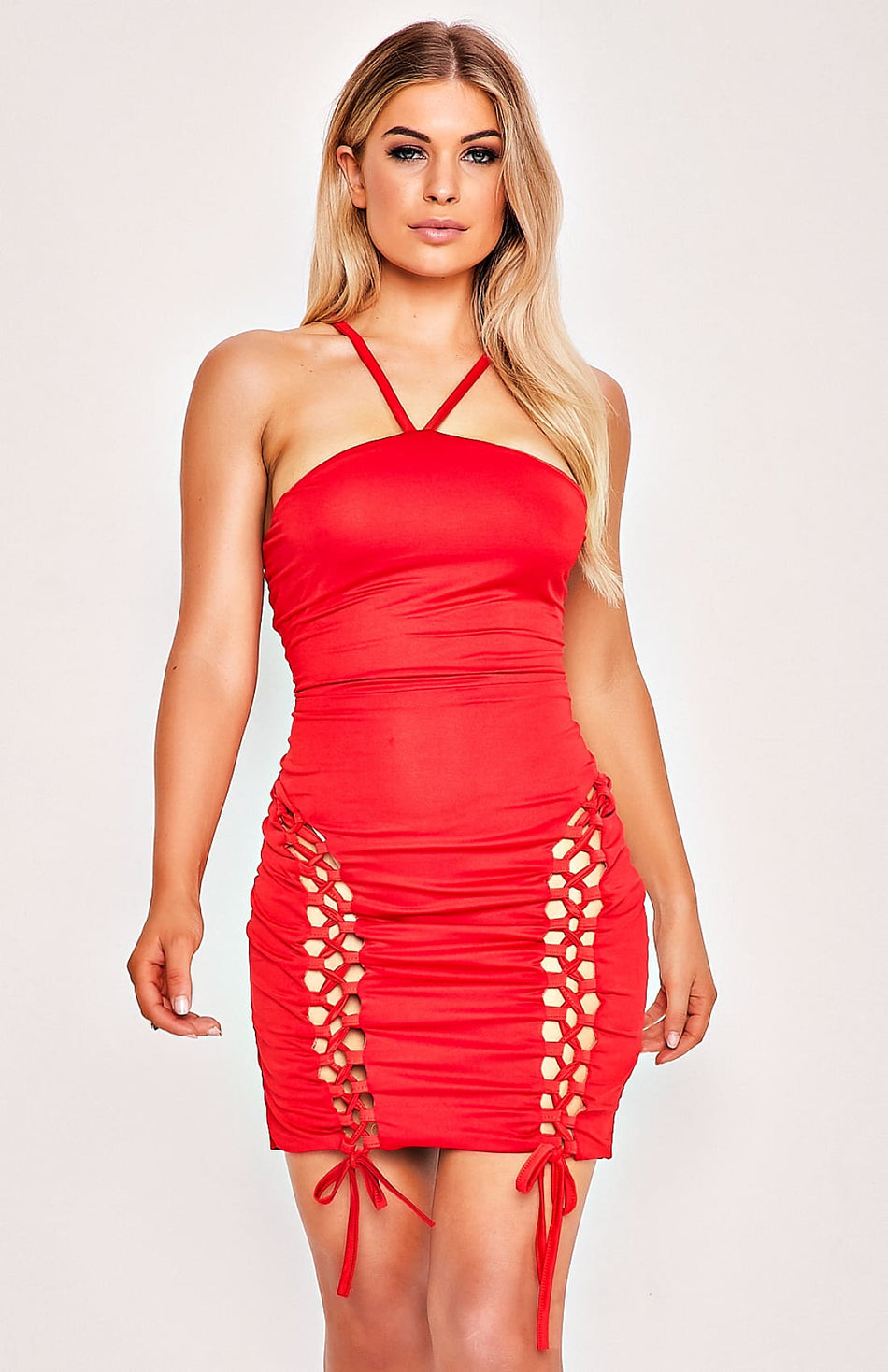 Red Satin Strap Design Mini Dress