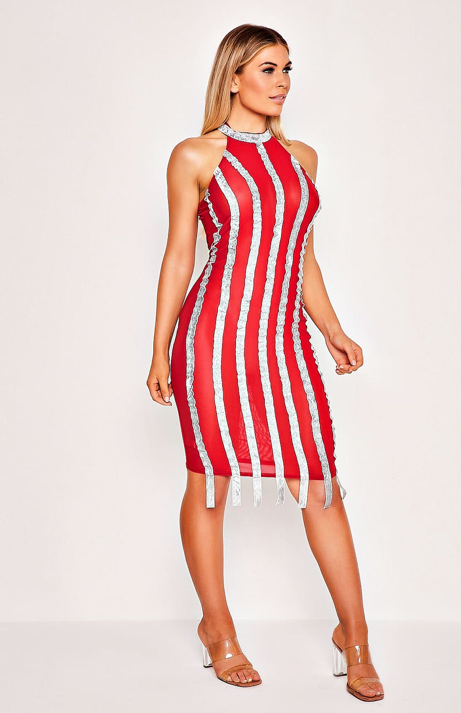 Red Striped See-Thru Mesh Bodycon Mini Dress
