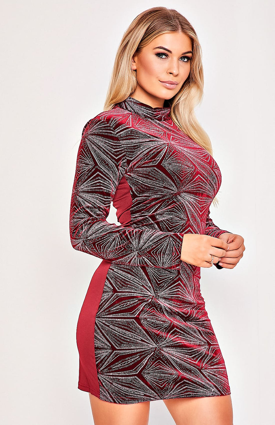 Rose Red Velvet Geometric Design, figurbetontes Kleid