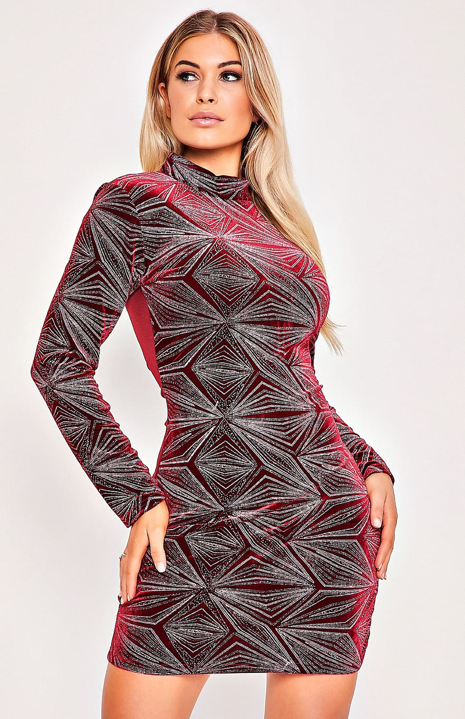 Rose Red Velvet Geometric Design Bodycon Dress