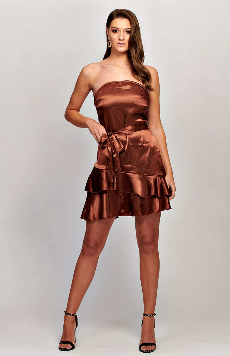 Satin Frill Hem Self Belt Bandeau Dress