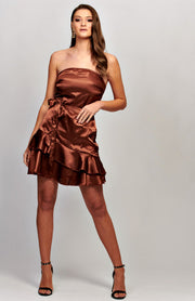 Satin Frill Hem Belted Bandeau Dress