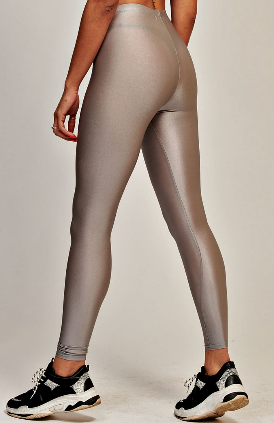 Metallic Silver High Waist Disco Leggings
