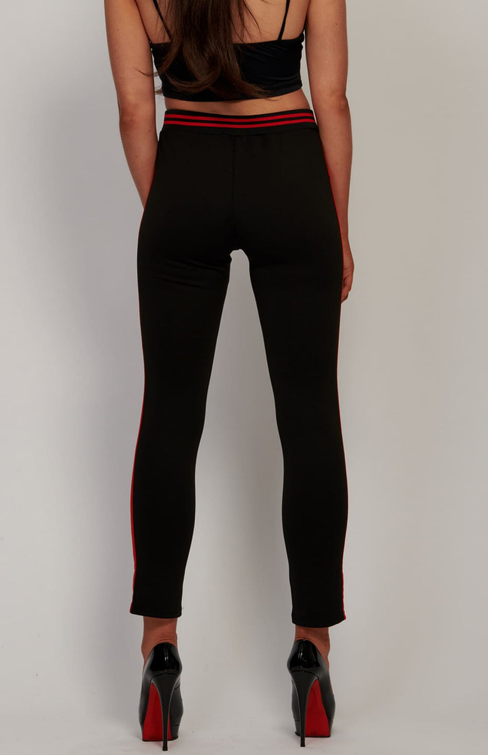 Black Side Stripe Slim Leg Trousers