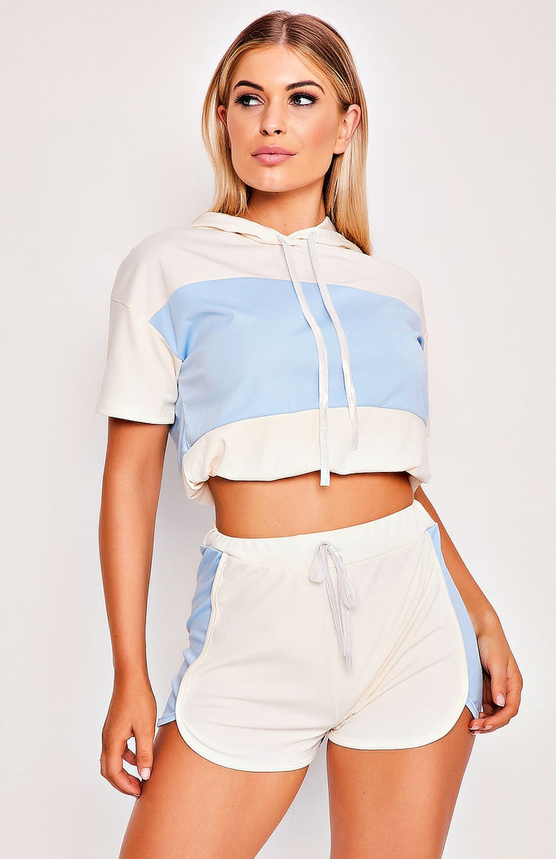 Sky Blue Hooded Two Piece Playsuit Set