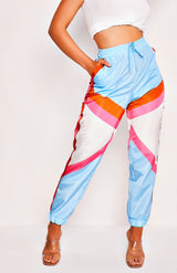 Retro Sky Blue Patchwork Printed Tie Waist Shell Pants