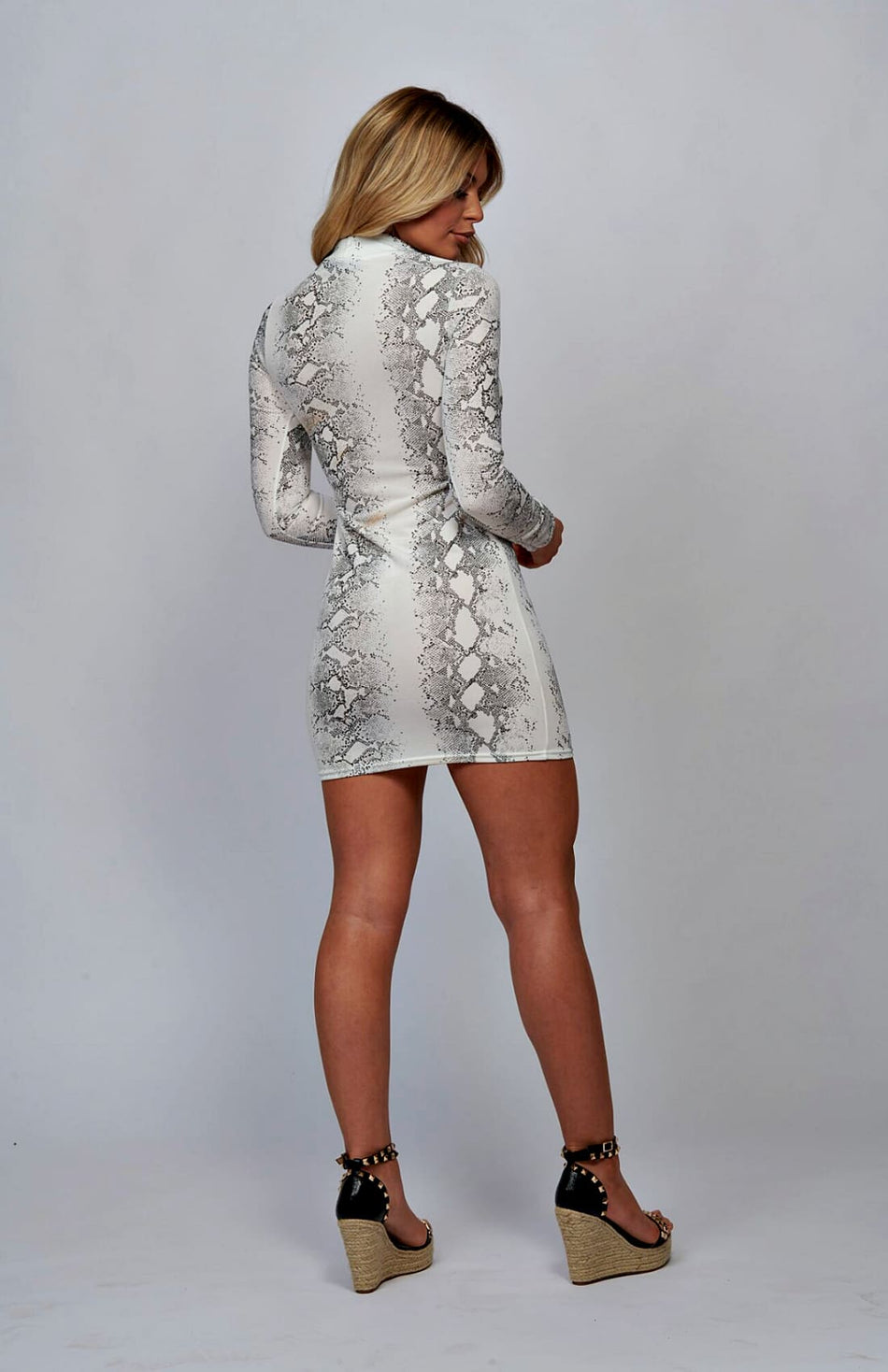 White Snake Print High Neck Bodycon Dress