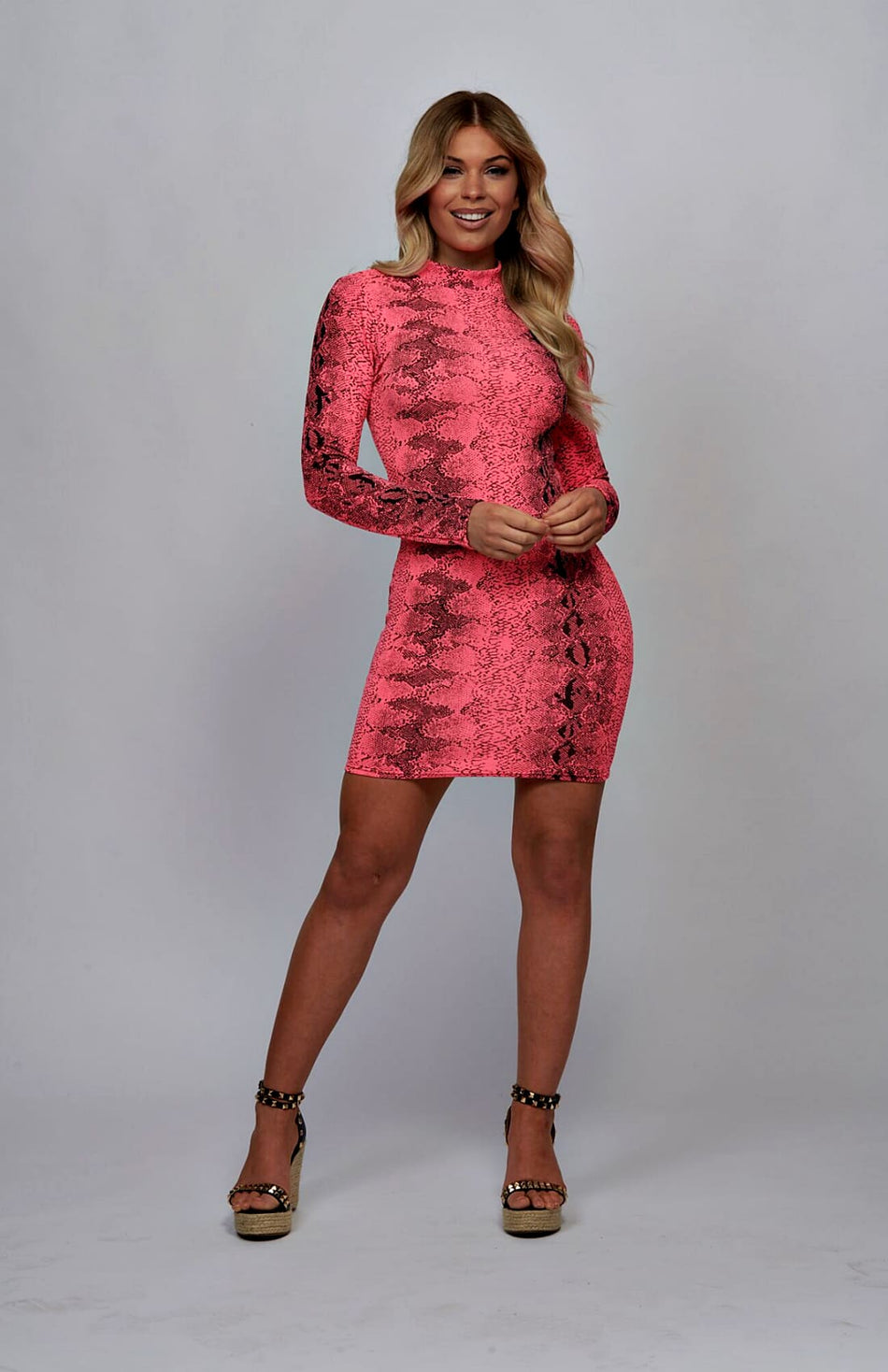 Snake Print High Neck Bodycon Dress