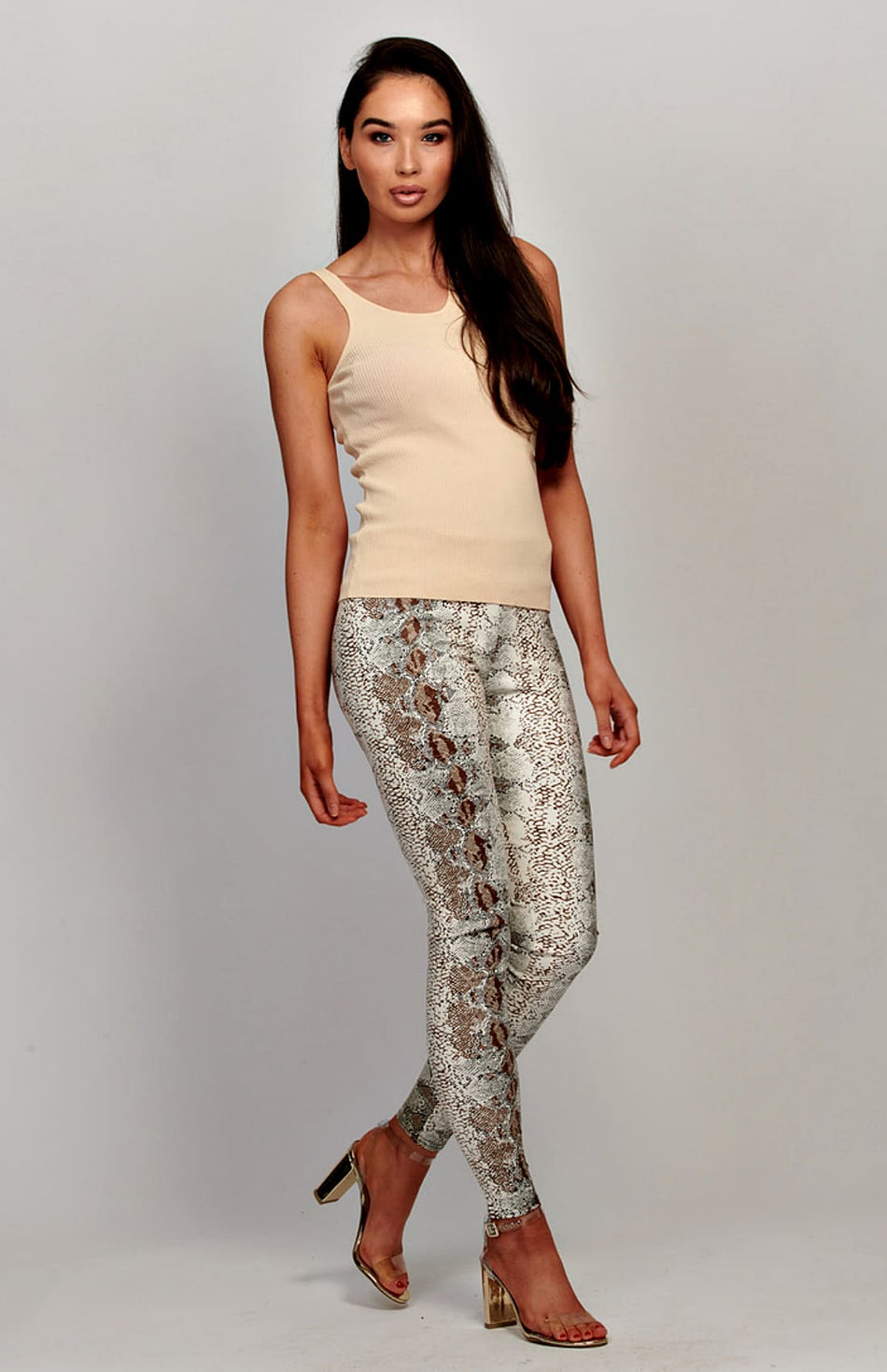 PU Snake Print Patterned Leggings