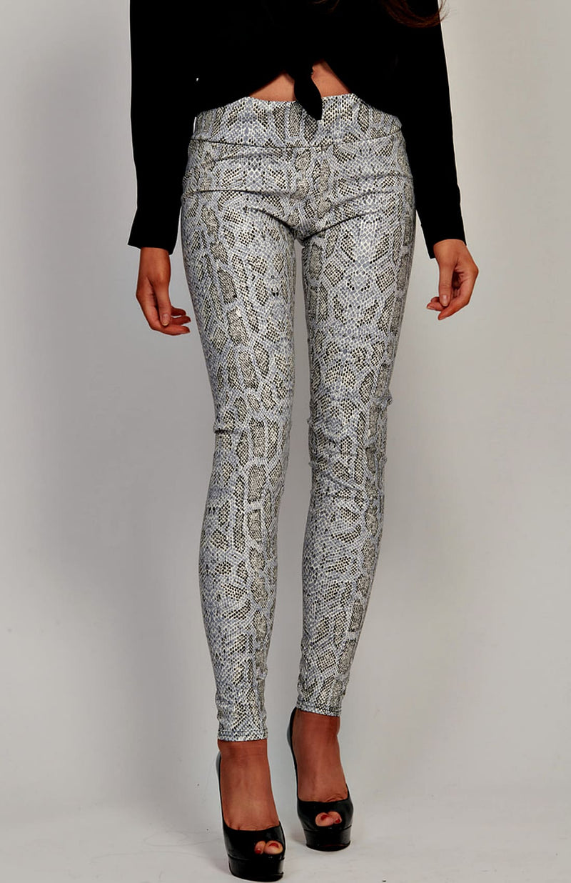 Snake Print Patterned Pvc Style Leggings
