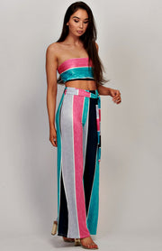 Stripe Tube Top And Wide Leg Trouser Co-Ord