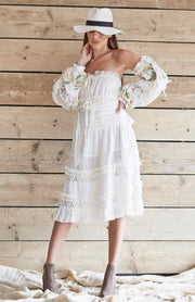 White Linen Off The Shoulder Embroidered Midi Dress
