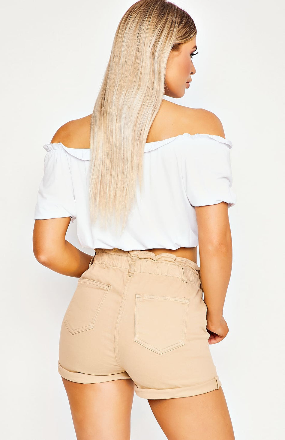 White Bardot Frill Detail Crop Top