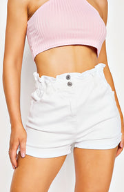White High Waisted Turn Up Detail Denim Shorts