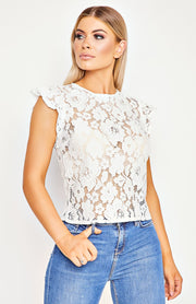 White Lace Frill Sleeve Top