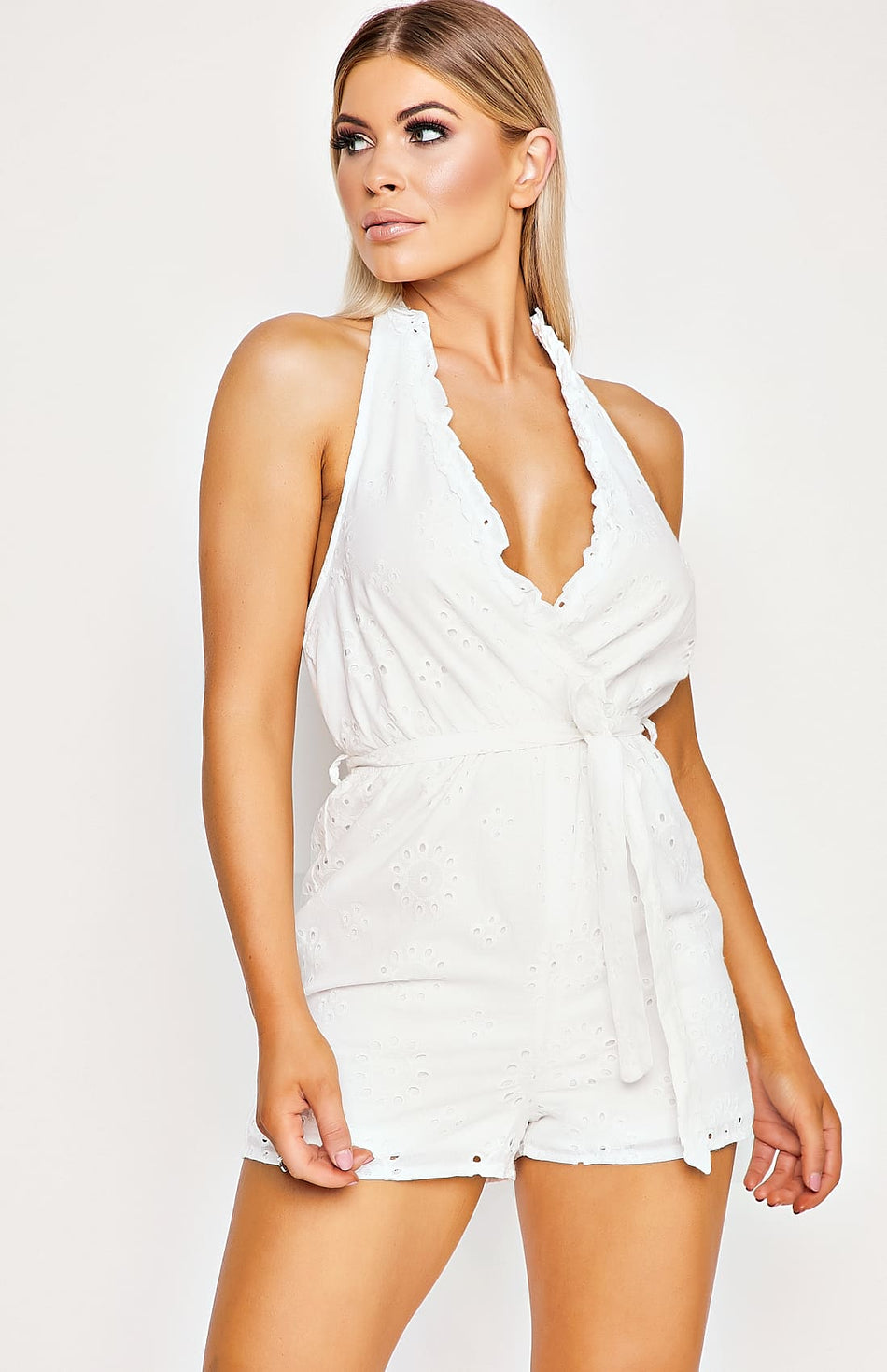White Lace Halter Neck Tie Waist Playsuit