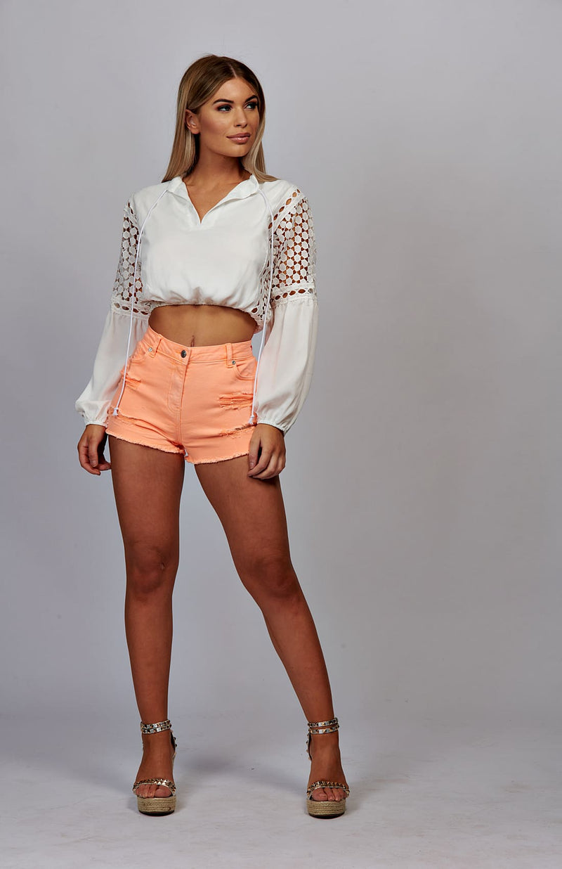 White Lace Panel Tie Neck Crop Top