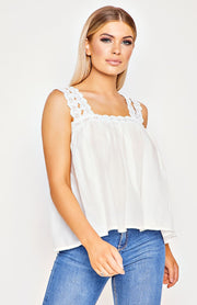 White Lace Trim Shoulder Strap Top