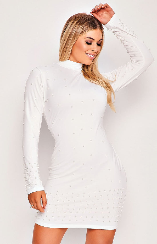 White Long Sleeve High Neck Bobble Bodycon Mini Dress