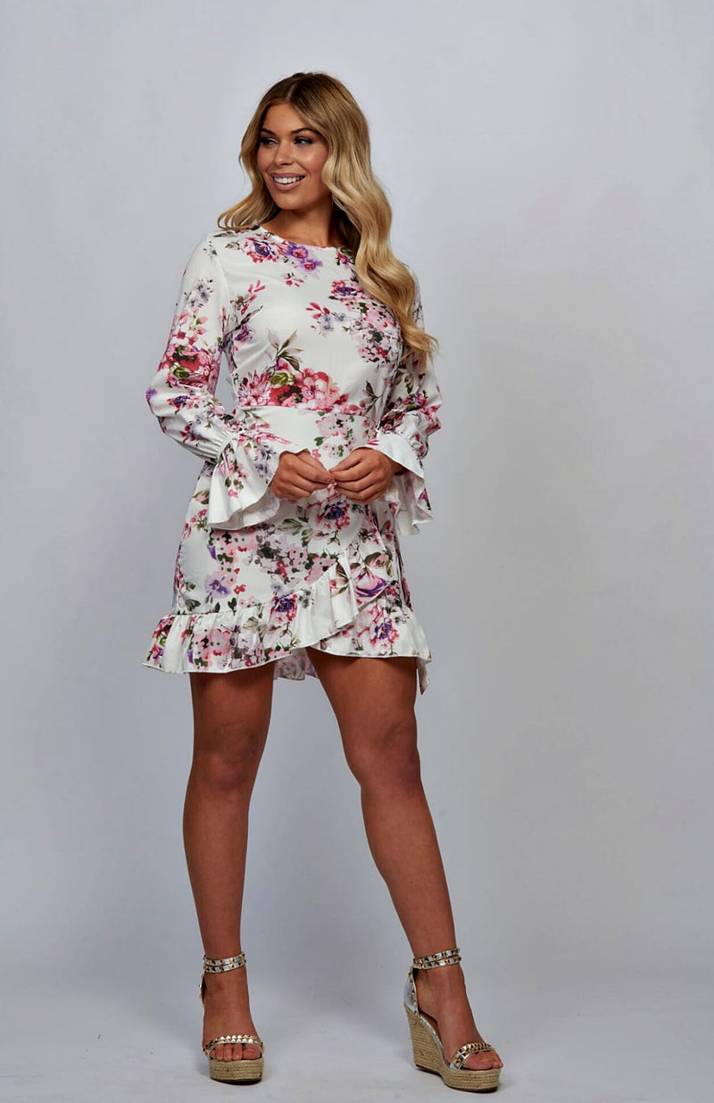 White Multi Rose Frill Detail Waist Tie Mini Dress