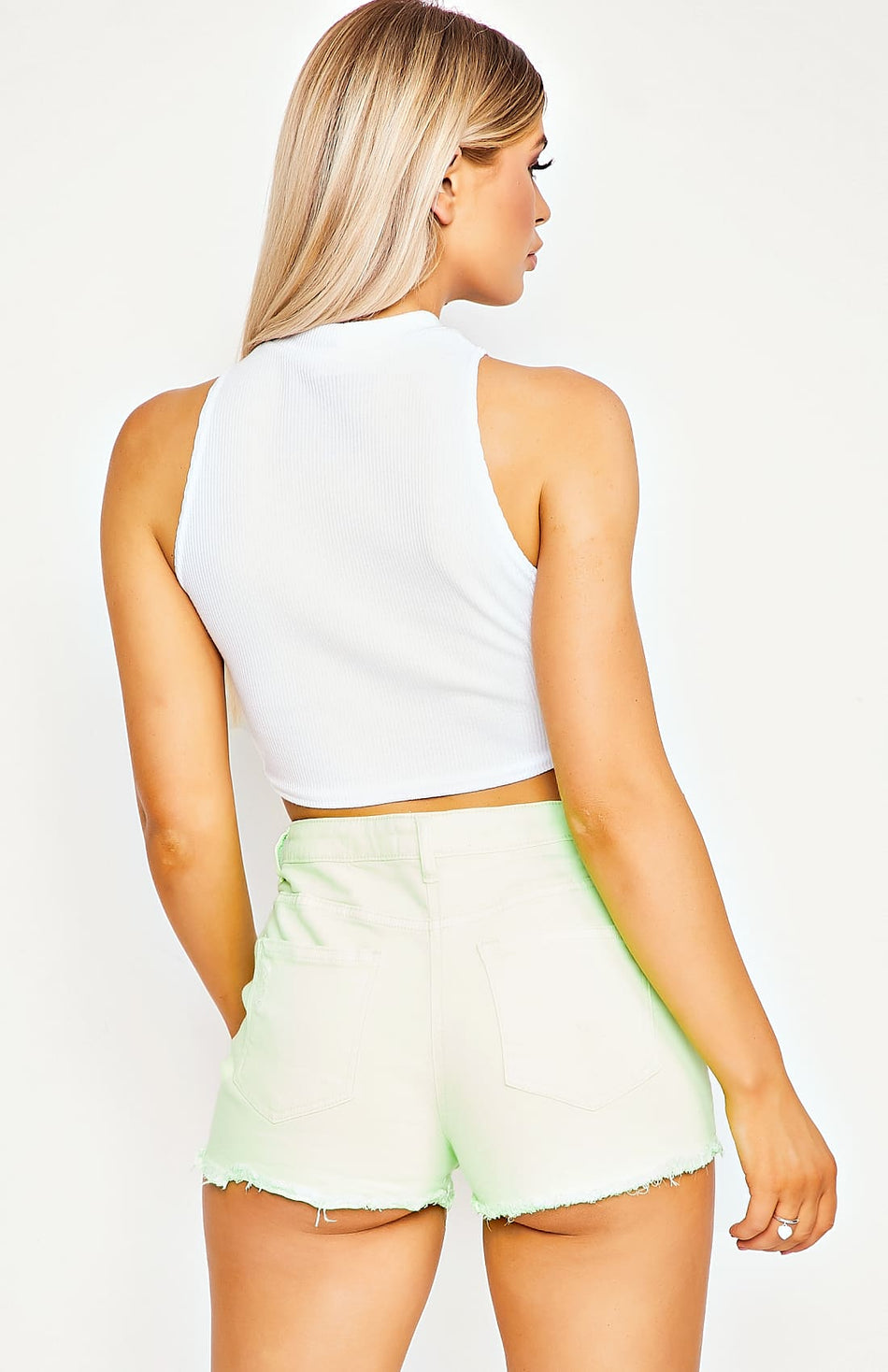 White Rib Knit High Neck Crop Top