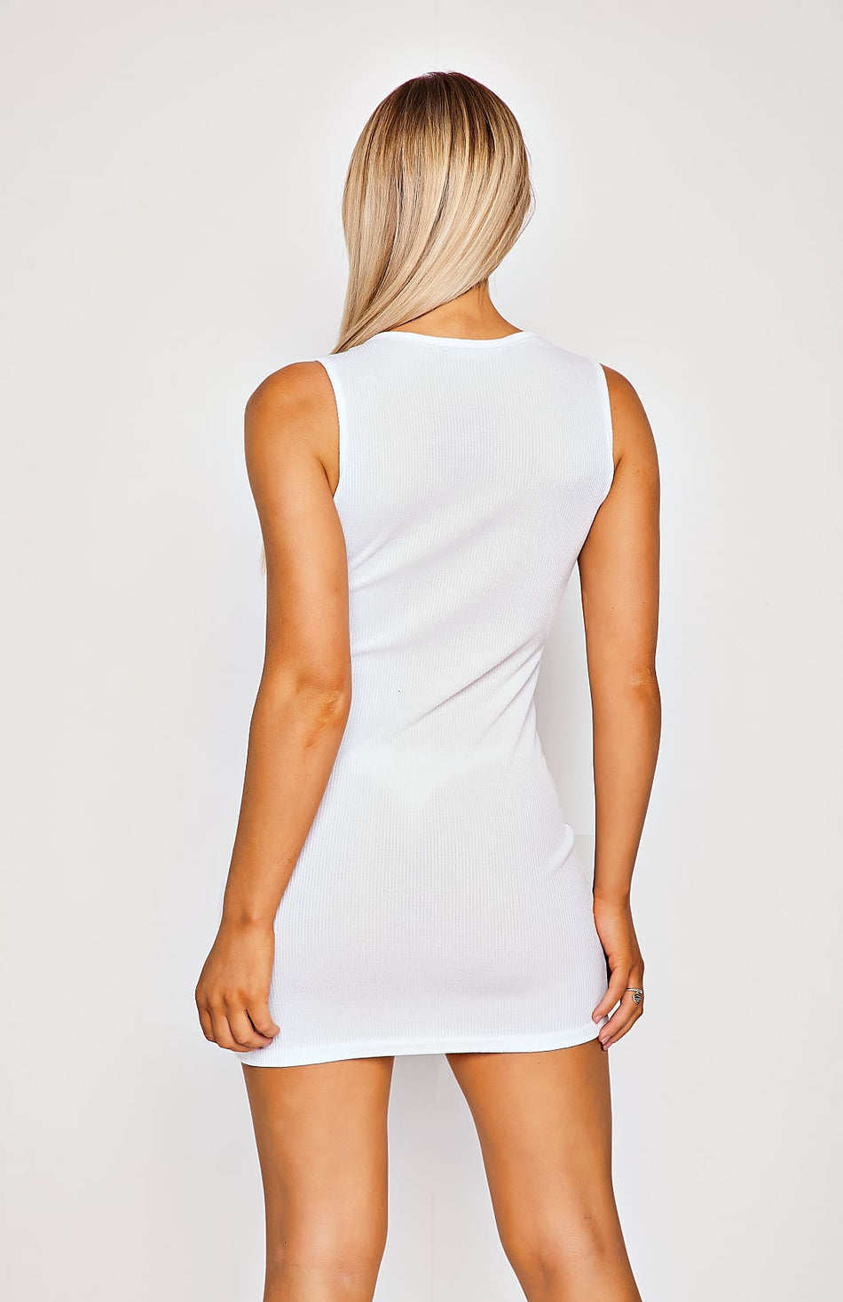 White Rib Knit Sleeveless Bodycon Dress