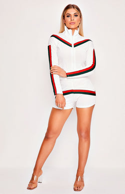 White Side Stripe Jacket & Shorts Two Piece Playsuit