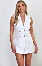 White Sleeveless Bodycon Blazer Dress