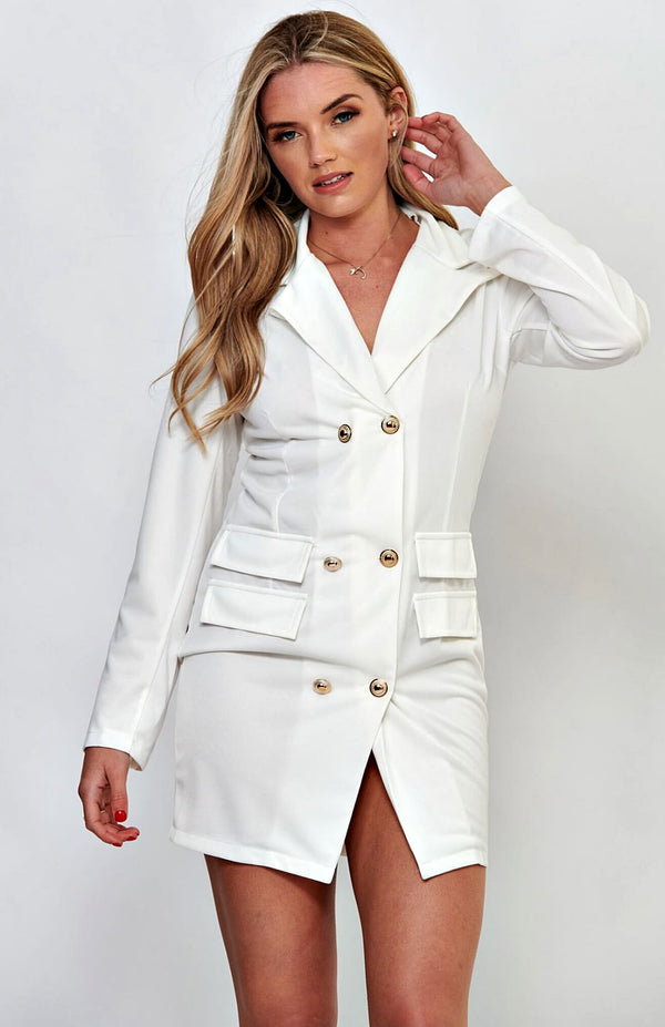 White V-Neck Long Sleeve Bodycon Blazer Dress