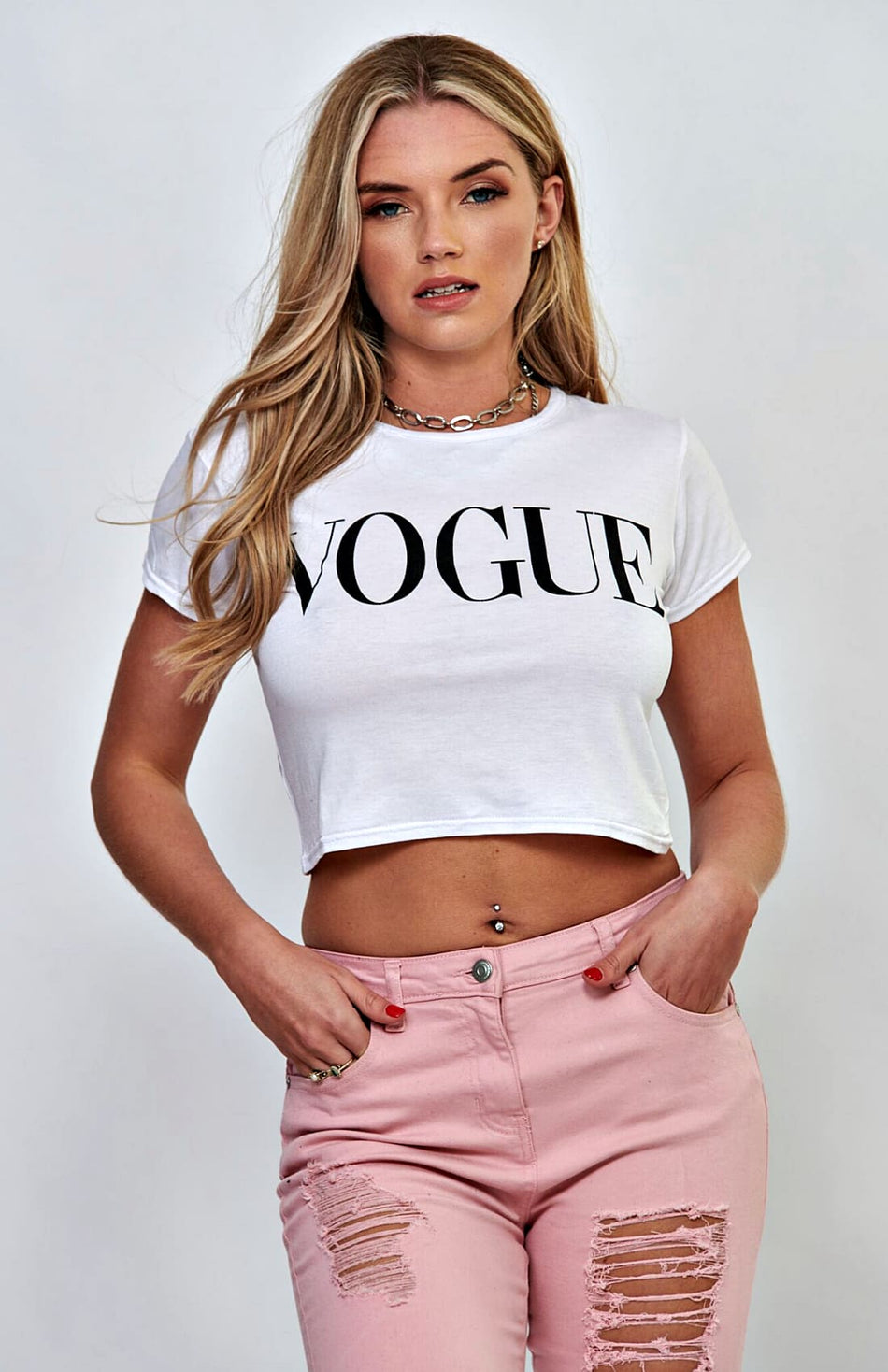 Weißes Vogue-Slogan-T-Shirt