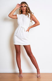 White Padded Shoulder Belted T.Shirt Dress