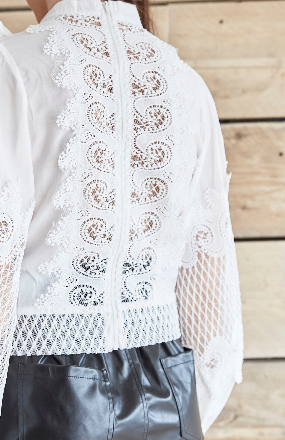 White Lace Panel High Neck Pussy Bow Shirt