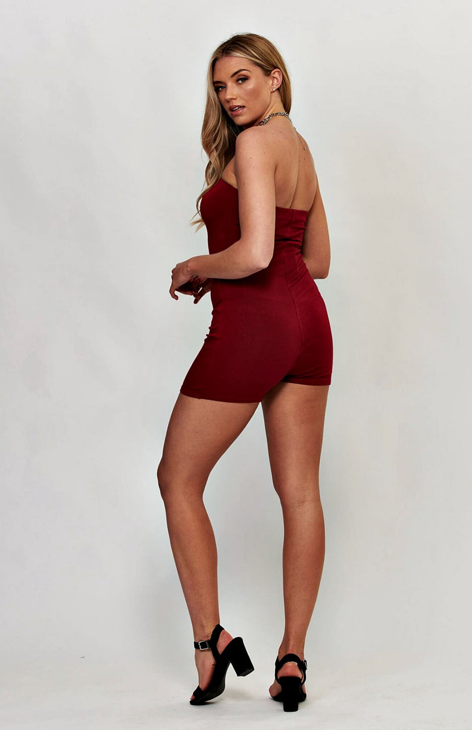 Wine Bandeau Stretch Bodycon Playsuit