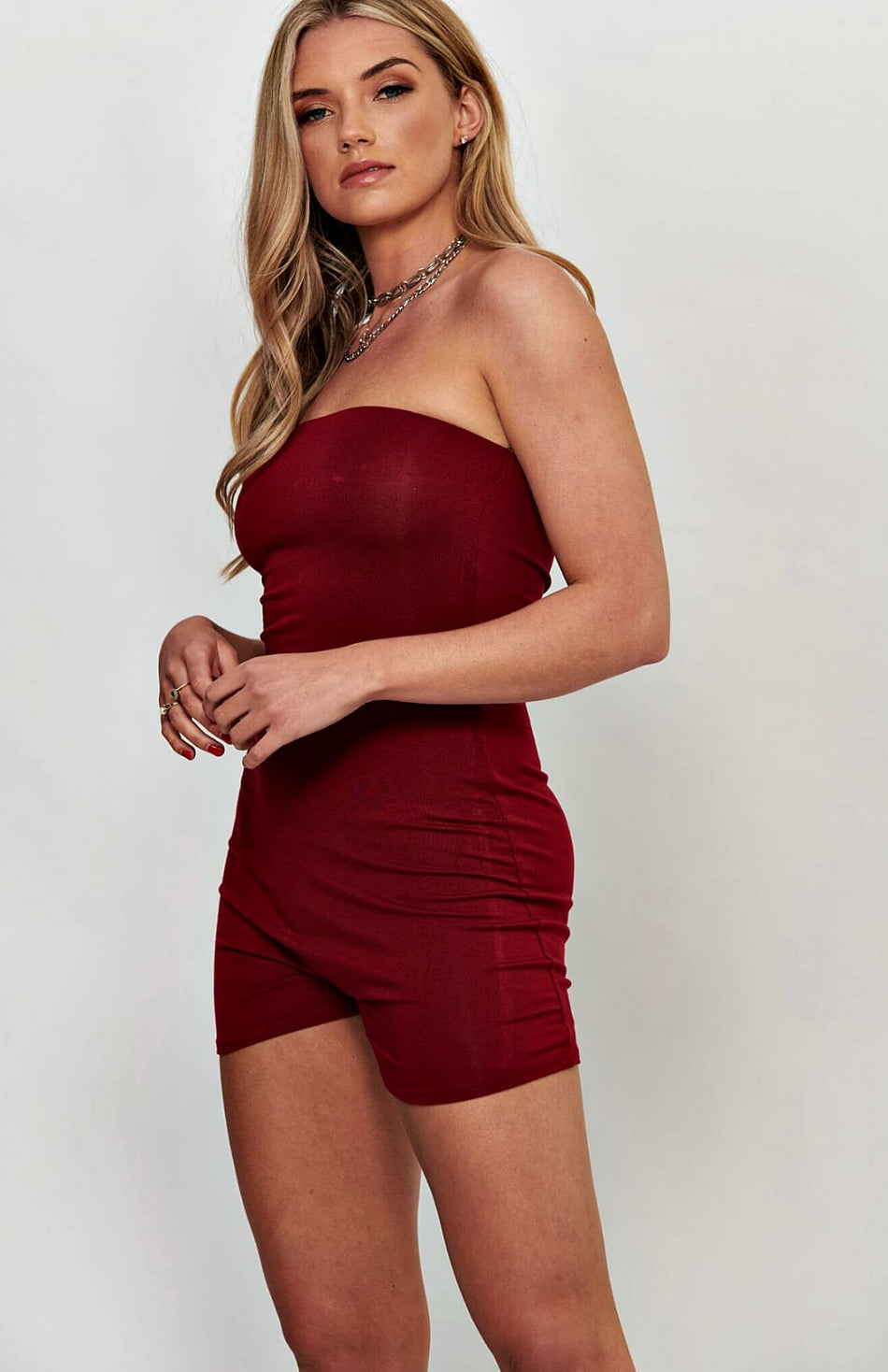 Wine Bandeau stretch bodycon speelpak