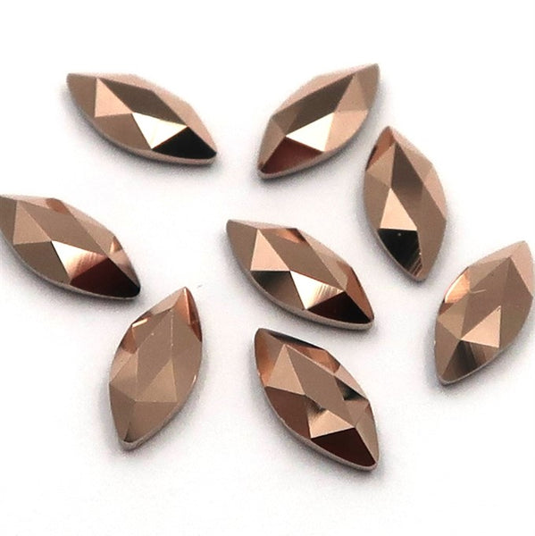 Swarovski Marquise shape flat back rhinestone crystal non hotfix in Rose Gold color