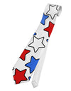 Red White And Blue Stars Printed White Necktie