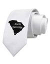 South Carolina - United States Shape Printed White Necktie