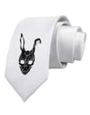 Scary Bunny Face Black Distressed Printed White Necktie