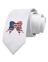 Patriotic Bow Printed White Necktie