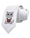 Cute Sweater Vest Cat Design Printed White Necktie