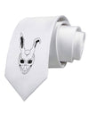 Scary Bunny Face White Distressed Printed White Necktie