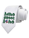 Home Sweet Home - Texas - Cactus and State Flag Printed White Necktie